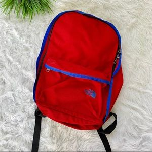 North Face backpack blue and red